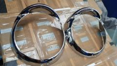 Pair New Genuine Chrome Headlamp Mounting Panels 105E Anglia